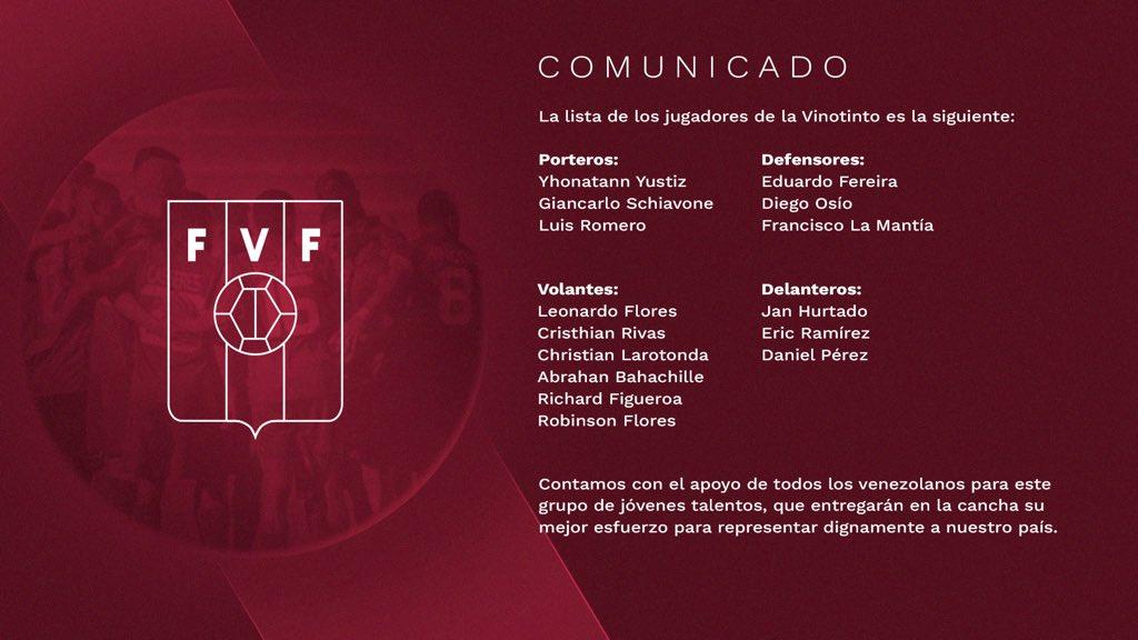 Venezuela convoca 15 jogadores de urgência para a Copa América Futebol Latino 13-06